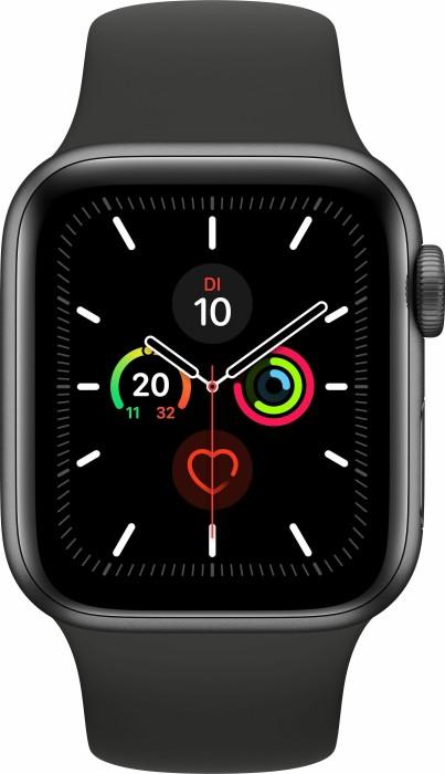 Apple Watch Series 5 (GPS) 40mm Aluminium space grau mit Sportarmband schwarz (MWV82FD)