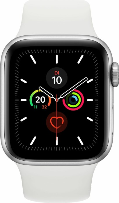 Apple Watch Series 5 (GPS) 40mm Aluminium silber mit Sportarmband weiß (MWV62FD)