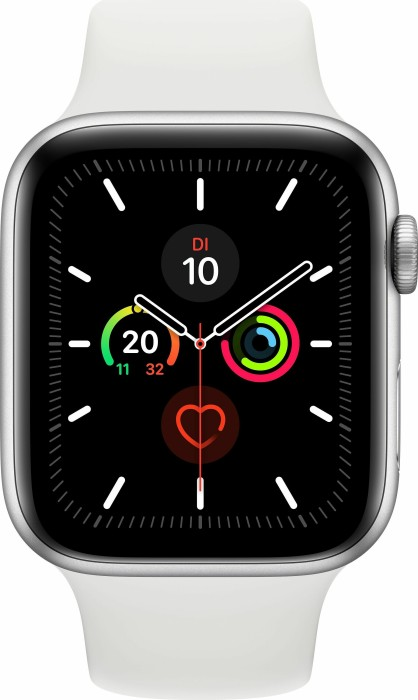 Apple Watch Series 5 (GPS) 44mm Aluminium silber mit Sportarmband weiß (MWVD2FD)
