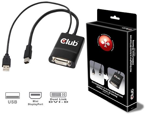 Club 3D active mini DisplayPort/dual link DVI adapter 330MHz (CAC-1151)