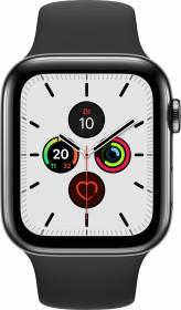 Apple Watch Series 5 (GPS + Cellular) 44mm Edelstahl space schwarz mit Sportarmband schwarz (MWWK2FD)