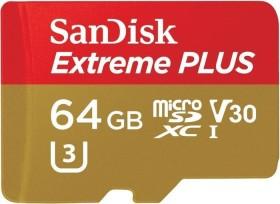 SanDisk Extreme PLUS R95/W90 microSDXC 64GB Kit, UHS-I U3, Class 10 (SDSQXWG-064G-GN6MA)