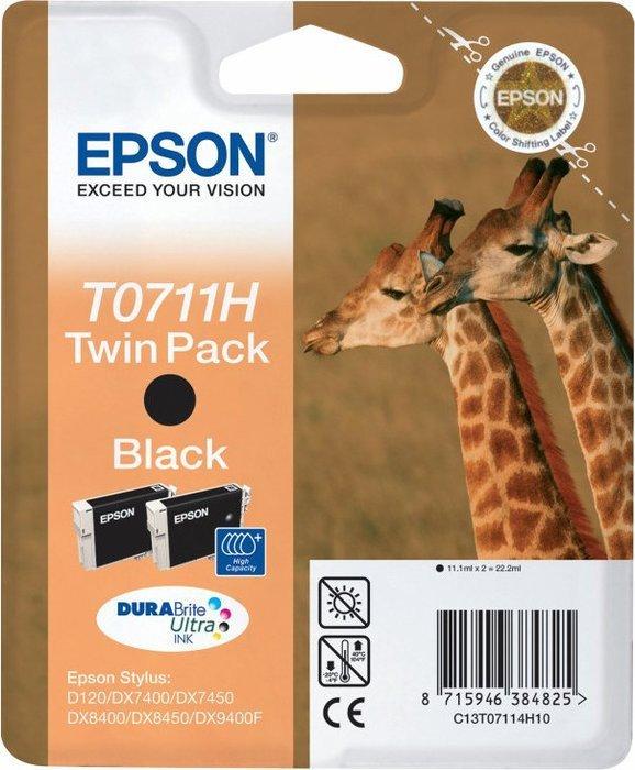 Epson T0711H Tinte schwarz, 2er-Pack (C13T07114H10)