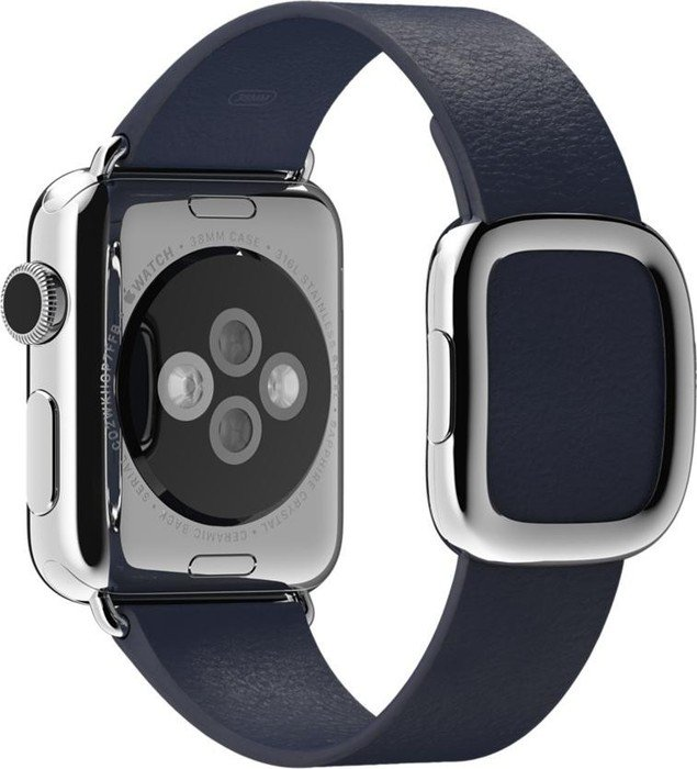 Apple modernes Lederarmband Medium für Apple Watch 38mm blau (MJ5C2ZM/A)