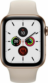 Apple Watch Series 5 (GPS + Cellular) 44mm Edelstahl gold mit Sportarmband stein (MWWH2FD)