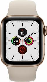 Apple Watch Series 5 (GPS + Cellular) 40mm Edelstahl gold mit Sportarmband stein (MWX62FD)