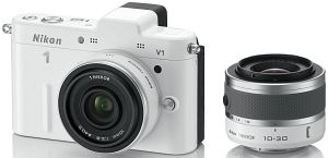 Nikon 1 V1 (EVIL) white with lens VR 10-30mm 3.5-5.6 and 10mm 2.8 (VVA102K004)