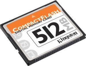 Kingston CompactFlash Card (CF) 512MB mit Adapter (CF/512ADP)