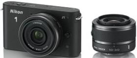 Nikon 1 J1 schwarz mit Objektiv VR 10-30mm 3.5-5.6 und 10mm 2.8 (VVA151K004)