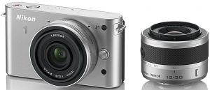 Nikon 1 J1 silver with lens VR 10-30mm 3.5-5.6 and 10mm 2.8 (VVA154K004)