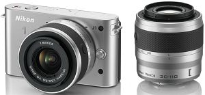 Nikon 1 J1 silver with lens VR 10-30mm 3.5-5.6 and VR 30-110mm 3.8-5.6 (VVA154K003)