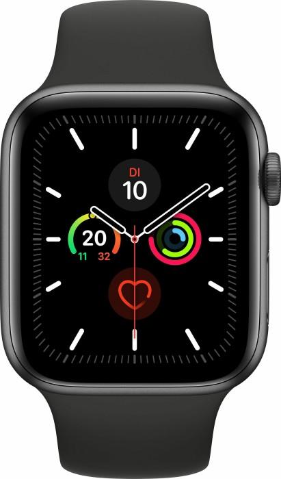 Apple Watch Series 5 (GPS + Cellular) 44mm Aluminium space grau mit Sportarmband schwarz (MWWE2FD)