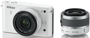 Nikon 1 J1 white with lens VR 10-30mm 3.5-5.6 and 10mm 2.8 (VVA152K004)