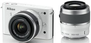 Nikon 1 J1 white with lens VR 10-30mm 3.5-5.6 and VR 30-110mm 3.8-5.6 (VVA152K003)
