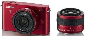 Nikon 1 J1 rot mit Objektiv VR 10-30mm 3.5-5.6 und 10mm 2.8 (VVA155K004)