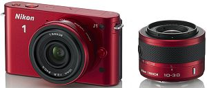 Nikon 1 J1 red with lens VR 10-30mm 3.5-5.6 and 10mm 2.8 (VVA155K004)