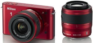 Nikon 1 J1 (EVIL) red with lens VR 10-30mm 3.5-5.6 and VR 30-110mm 3.8-5.6 (VVA155K003)