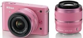 Nikon 1 J1 pink mit Objektiv VR 10-30mm 3.5-5.6 und VR 30-110mm 3.8-5.6 (VVA153K003)