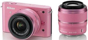 Nikon 1 J1 (EVIL) pink with lens VR 10-30mm 3.5-5.6 and VR 30-110mm 3.8-5.6 (VVA153K003)