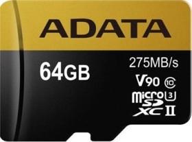 ADATA Premier ONE R275/W155 microSDXC 64GB Kit, UHS-II U3, Class 10 (AUSDX64GUII3CL10-CA1)