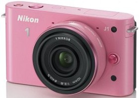 Nikon 1 J1 pink mit Objektiv 10mm 2.8 (VVA153K002)