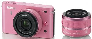 Nikon 1 J1 (EVIL) pink with lens VR 10-30mm 3.5-5.6 and 10mm 2.8 (VVA153K004)