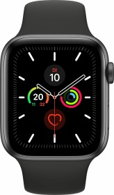 Apple Watch Series 5 (GPS) 44mm Aluminium space grau mit Sportarmband schwarz (MWVF2FD)