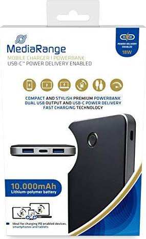 MediaRange Mobile Charger 10000mAh USB-C schwarz (MR753) -- via Amazon Partnerprogramm