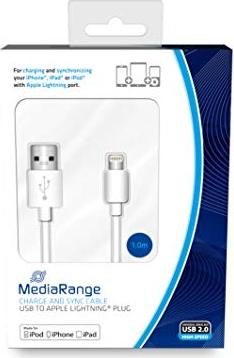 MediaRange Lade- und Datenkabel USB 2.0 auf Apple Lightning Stecker 1.0m weiß (MRCS178) -- via Amazon Partnerprogramm