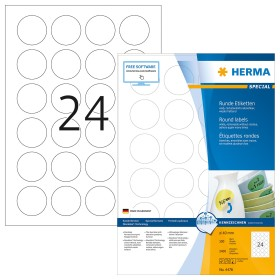 Herma labels Special removable circular 40mm, white, 100 sheets (4476)