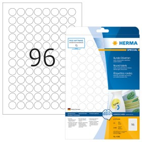 Herma labels Special removable circular 20mm, white, 25 sheets (4386)