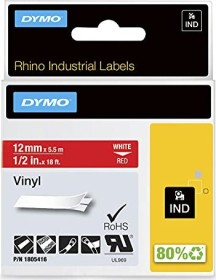 Dymo ID1 Industrial Rhino Pro labelling tape 12mm, white/red (1805416)
