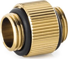 "Bitspower Touchaqua Verbinder 2x 1/4"" male, True Brass, 2er-Pack (BPTA-F08-TB)"