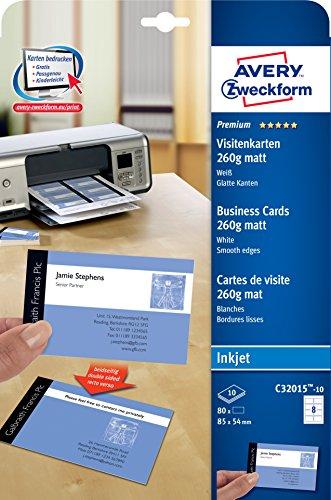 Avery Zweckform Premium Visitenkarten 260g 10 Blatt C32015