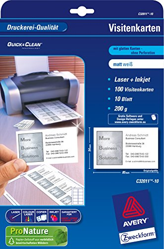 Avery zweckform superior business cards 200g 500 sheets c32011 via amazon partnerprogramm reheart Image collections