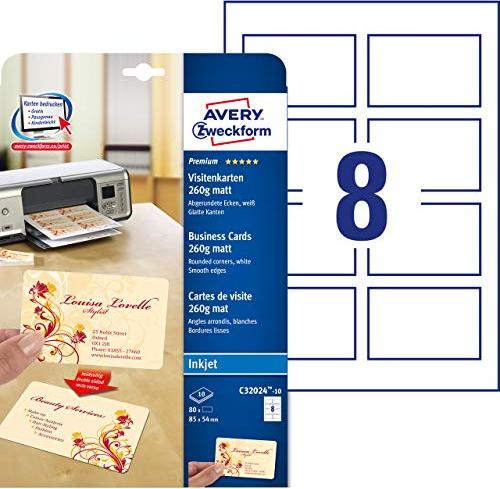 Avery zweckform superior business cards 260g 8 sheets c32024 10 via amazon partnerprogramm reheart Image collections