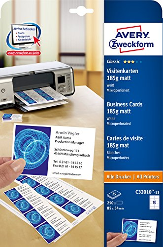 Avery Zweckform Superior Business Cards 185g 25 Sheets C32010 25 From 7 23