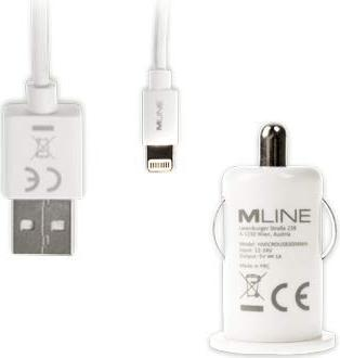 MLine Kfz-Lader mit Lightning-Kabel weiß (HLIGHTNING3004WH) -- via Amazon Partnerprogramm