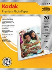 Kodak 3937745 Premium Fotopapier glänzend 10x15cm, 240g, 20 Blatt