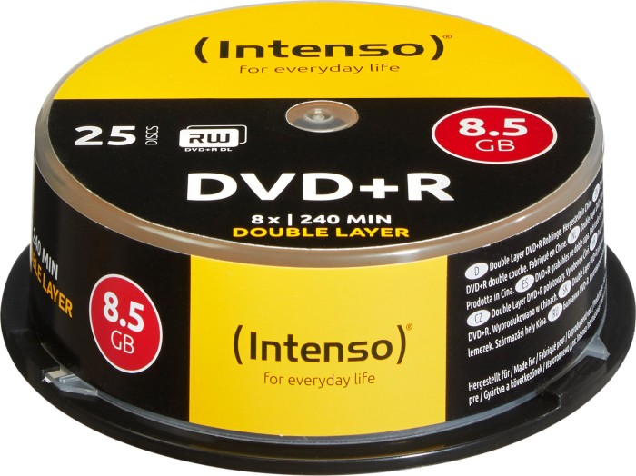 Intenso DVD+R 8.5GB DL 8x, 25-pack Spindle (4311144)