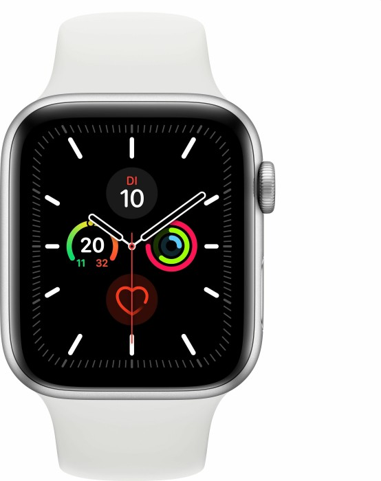 Apple Watch Series 5 (GPS + Cellular) 44mm Aluminium silber mit Sportarmband weiß (MWWC2FD)