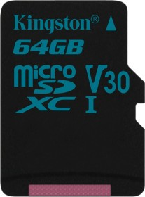 Kingston Canvas Go! R90/W45 microSDXC 64GB, UHS-I U3, Class 10 (SDCG2/64GBSP)
