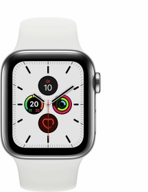Apple Watch Series 5 (GPS + Cellular) 40mm Edelstahl silber mit Sportarmband weiß (MWX42FD)