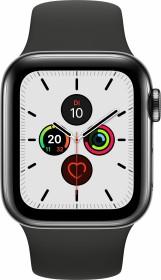 Apple Watch Series 5 (GPS + Cellular) 40mm Edelstahl space schwarz mit Sportarmband schwarz (MWX82FD)