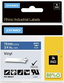 Dymo ID1 Industrial Rhino Pro labelling tape 19mm, white/blue (1805417)
