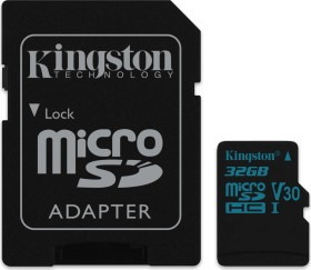 Kingston Canvas Go! R90/W45 microSDHC 32GB Kit, UHS-I U3, Class 10 (SDCG2/32GB)