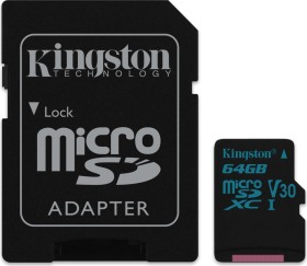 Kingston Canvas Go! R90/W45 microSDXC 64GB Kit, UHS-I U3, Class 10 (SDCG2/64GB)