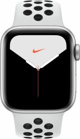 Apple Watch Nike Series 5 (GPS) 40mm Aluminium silber mit Sportarmband pure platinum/schwarz (MX3R2FD)