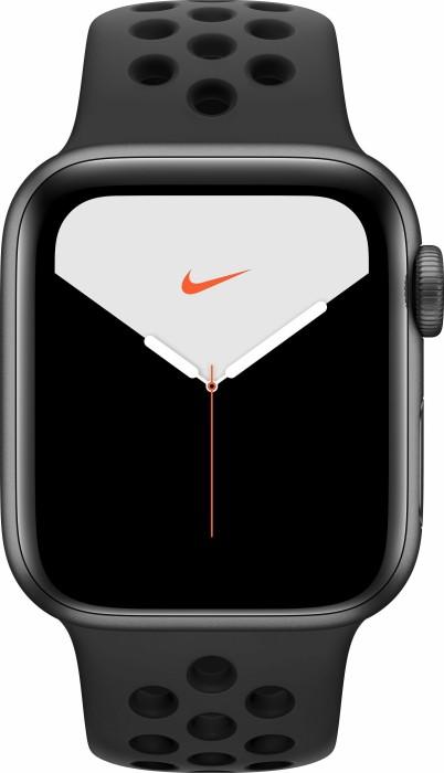 Apple Watch Nike Series 5 (GPS) 40mm Aluminium space grau mit Sportarmband anthrazit/schwarz (MX3T2FD)