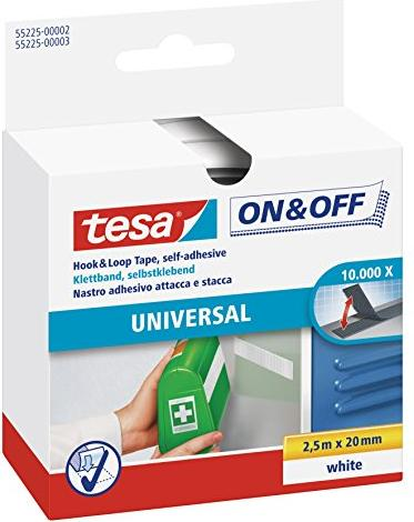 tesa On & Off Velcro tape white, 20mm/2.5m (55225-02)